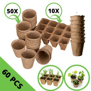 Set de Macetas y Semilleros de Germinación Biodegradables.