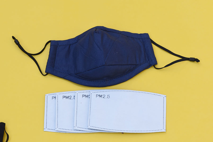 1 Cotton Reusable Face Mask with 4 PM2.5 Filters- Navy