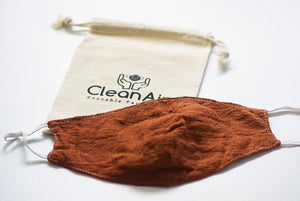 1 Cotton/Tencel Reusable Face Mask with 4 PM2.5 Filters- Rust
