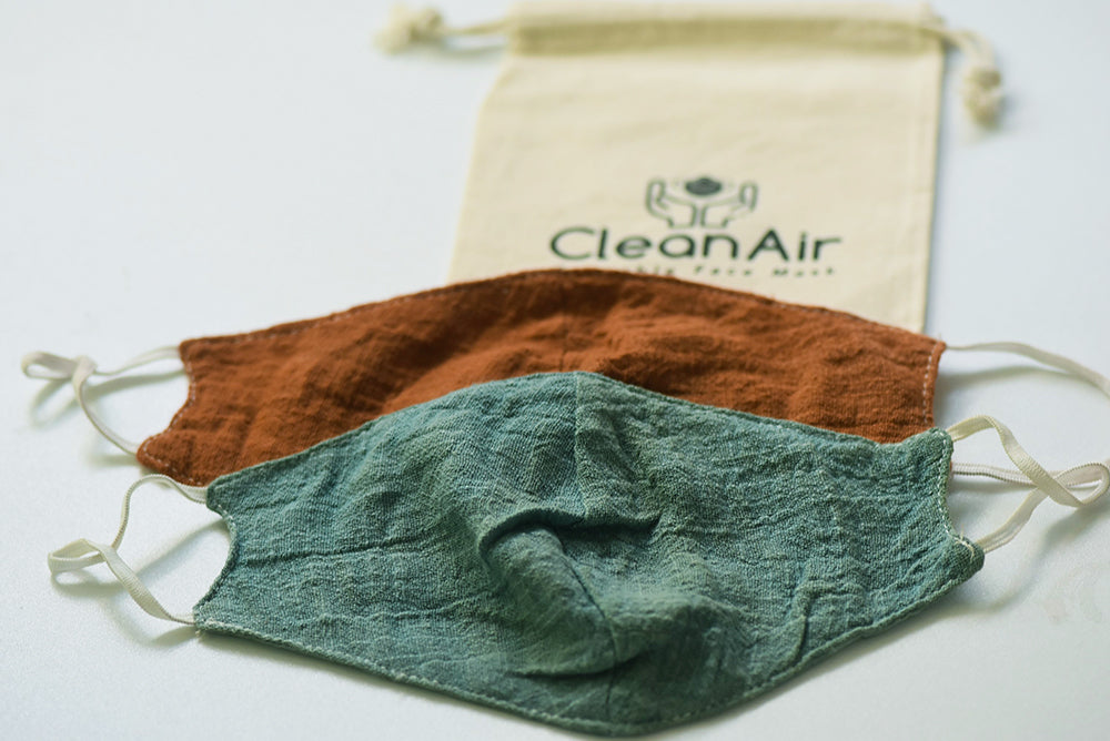2 Cotton/Tencel Reusable Face Masks with 8  PM2.5 Filters