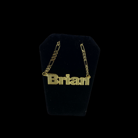DAR Blockhead Nameplate Necklace