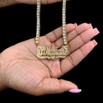 DAR Custom Tennis Nameplate Necklace