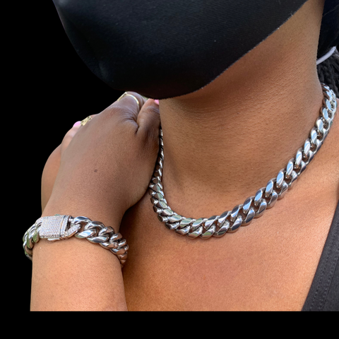 12mm Miami Cuban Necklace & Bracelet Set