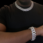 19mm Diamond Cuban Prong Necklace & Bracelet Set