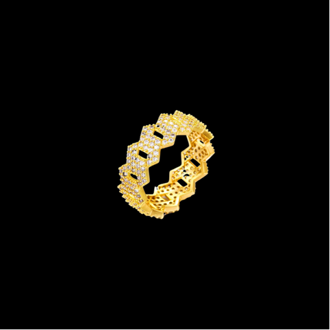 8mm Diamond Prong Cuban Link Ring