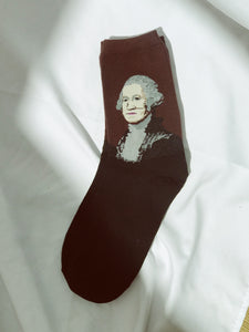 Vintage inspirierte Socken mit George Washington Print in Braun