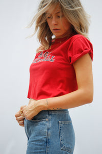 Vintage Reworked Crop Top in Rot mit Basketball Aufdruck - Größe S