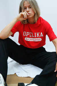 "Vintage Reworked Under Armour Crop Top in Rot mit ""Opelika Bulldogs"" Aufdruck - Größe M"