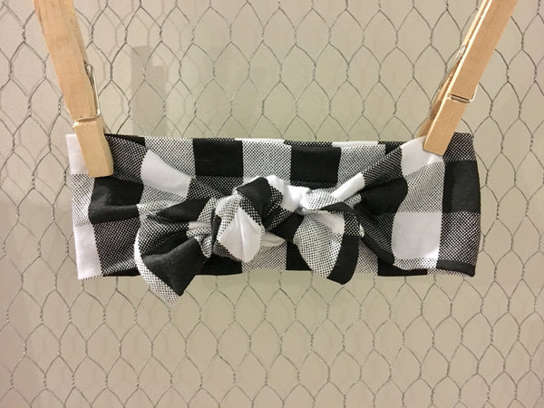 Black + White Plaid Knotband