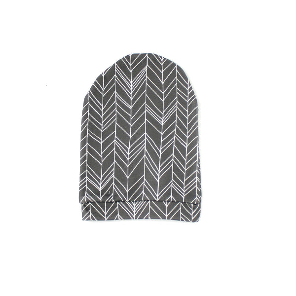 Grey Feather Slouch Beanie