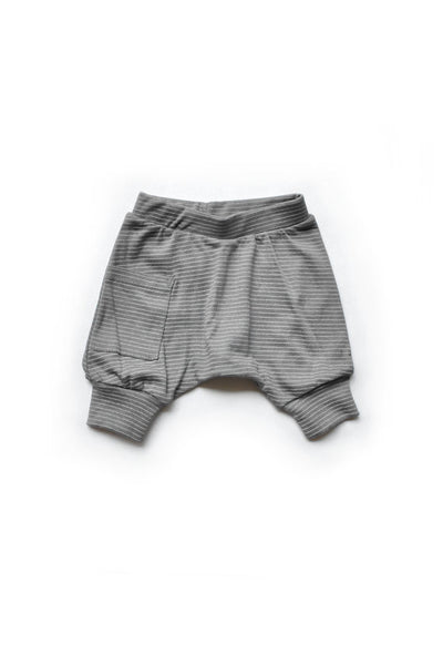 Grey Striped Harem Shorts
