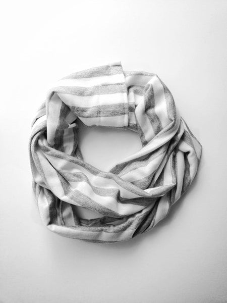 Grey & White Double Loop Scarf