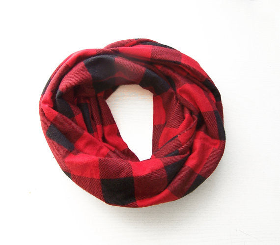 Red and Black Plaid Double Loop Infinity Scarf
