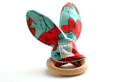 Wooden Ring Teether - Red & Aqua Poppy