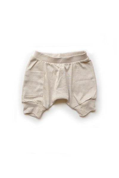 Tan Striped Harem Shorts