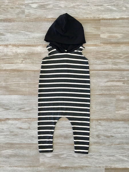 Sleeveless Hooded Romper - Black