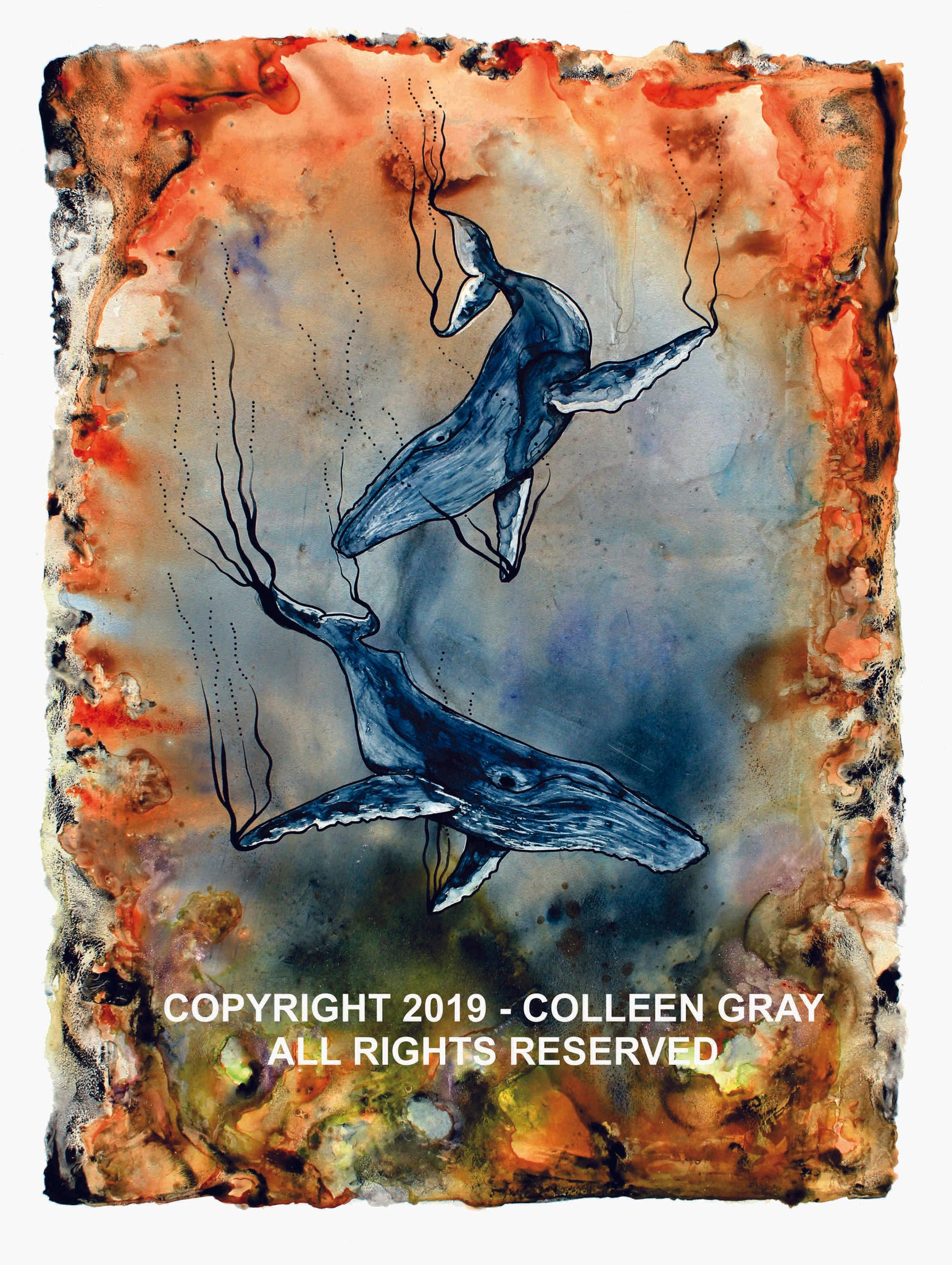 Image of Title: Coral Choir 16x20 archival print by Metis Artist Colleen Gray Indigenous Canadian Art Work. Image of two whales swimming. Very orange and blue. For sale at https://artforaidshop.ca