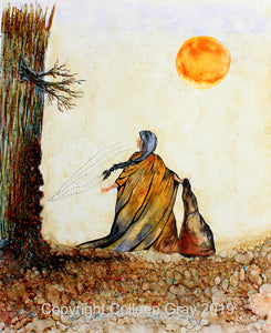 Image of Title: The Story Tree Art Card by Metis Artist Colleen Gray Indigenous Canadian Art Work. Woman with long hair standing before a big tree stories being told. Sun in sky. For sale at https://artforaidshop.ca