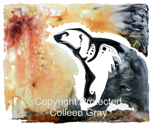 Image of Title: Polar Bear Talks To The Moon 16x20 archival print by Metis Artist Colleen Gray Indigenous Canadian Art Work. Horizontal. Polar bear talking to the sun. For sale at https://artforaidshop.ca