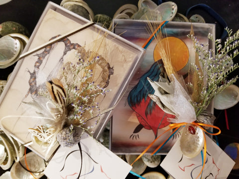 Image of Notecards - Indigenously Decorated - Package of 8 by Metis Artist Colleen Gray Indigenous Canadian Art Work. For sale at https://artforaidshop.ca