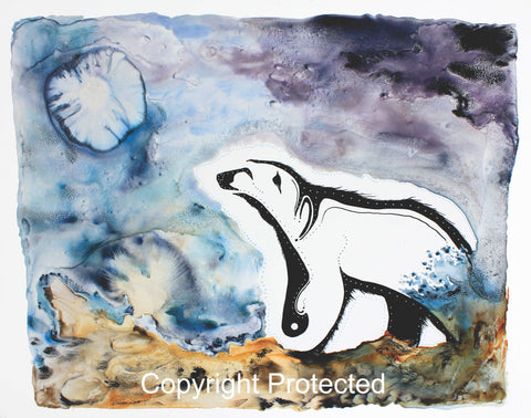 Image of Title: Polar Bear Talks To The Moon 16x20 archival print by Metis Artist Colleen Gray Indigenous Canadian Art Work. Horizontal. Polar bear talking to the moon. For sale at https://artforaidshop.ca