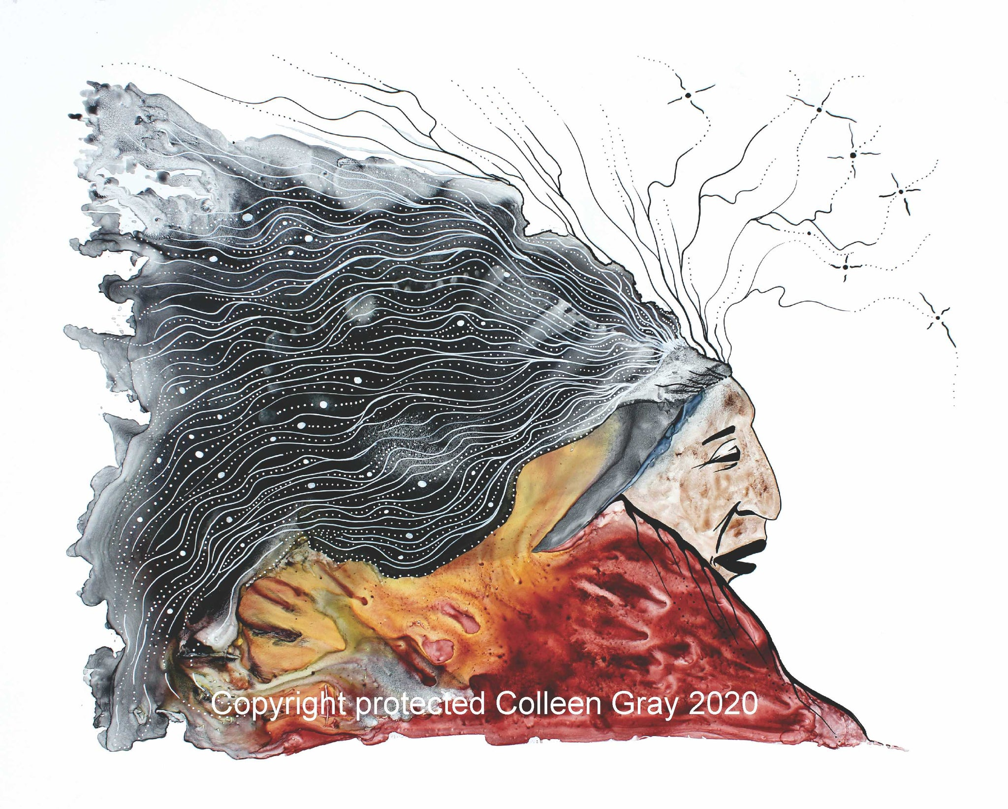 Image of Title: Old Man Dreams 16x20 archival print by Metis Artist Colleen Gray Indigenous Canadian Art Work. For sale at https://artforaidshop.ca