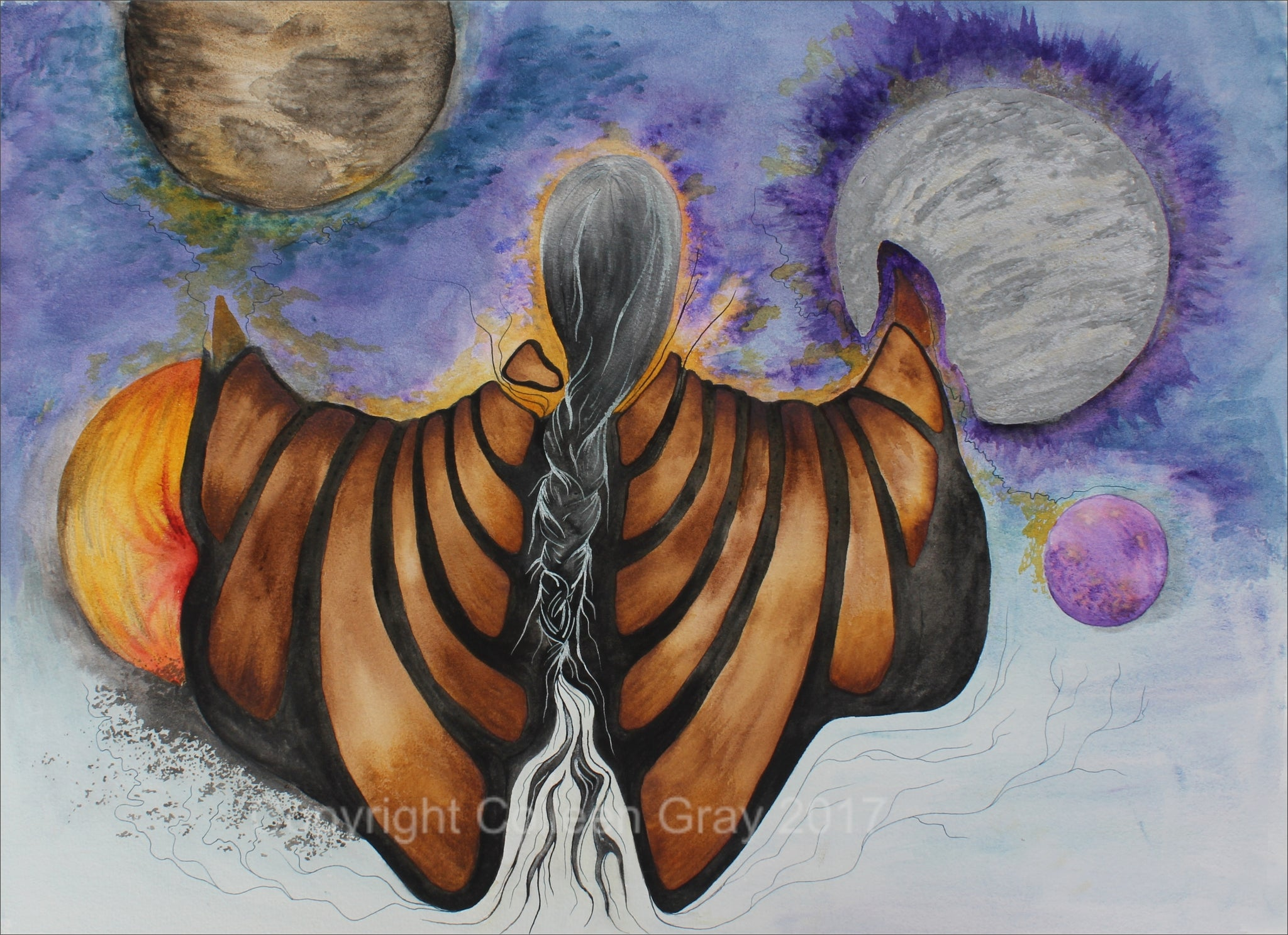 Image of Title: Universal Language 16x20 archival print by Metis Artist Colleen Gray Indigenous Canadian Art Work. Horizontal. Woman with long hair. Can be viewed upside down. For sale at https://artforaidshop.ca