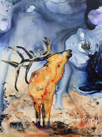 Image of Title: The Love Song 16x20 archival print by Metis Artist Colleen Gray Indigenous Canadian Art Work. Vertical. Elk singing. For sale at https://artforaidshop.ca