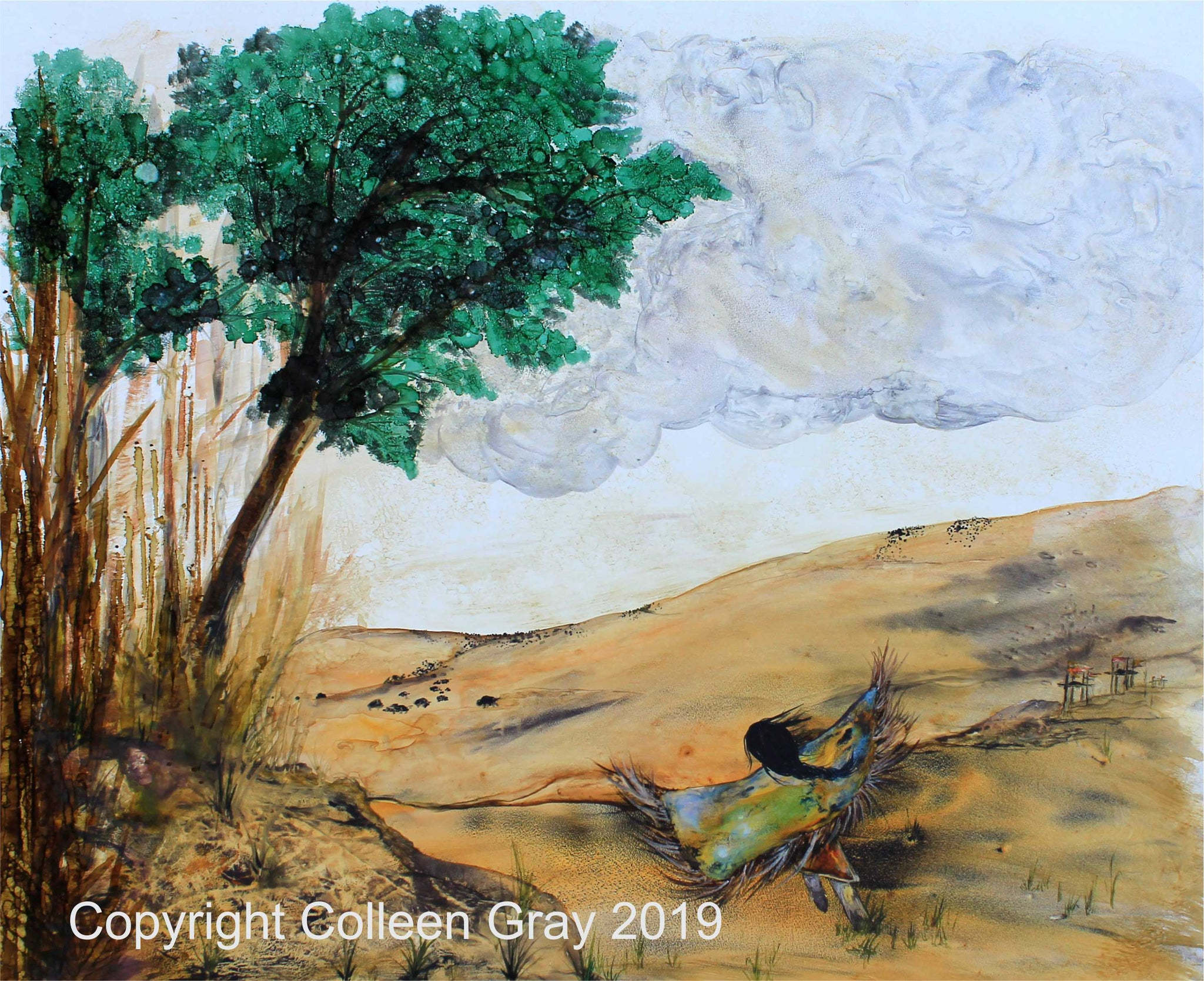 Image of Title: Dancing for the Earth Art Card  by Metis Artist Colleen Gray Indigenous Canadian Art Work. Landscape, green trees, brown earth, blue sky, woman outstretched arms.For sale at https://artforaidshop.ca