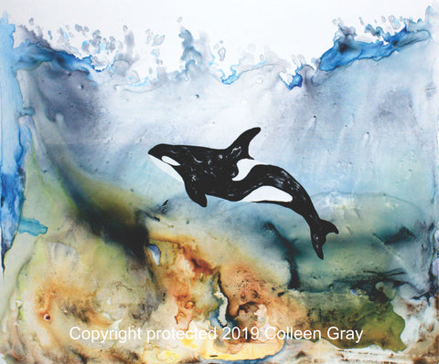 Image of Title: I am Orca 16x20 archival print by Metis Artist Colleen Gray Indigenous Canadian Art Work. Orca in the ocean. horizontal. For sale at https://artforaidshop.ca