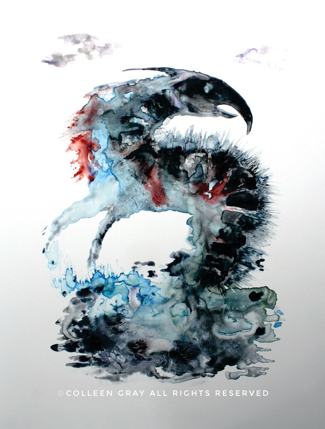 Art Card Title Ancient Bones  by Metis Artist Colleen Gray Indigenous Canadian Art Work. Creature with a sharp black beak rises out of the black and blue water. For sale at https://artforaidshop.ca