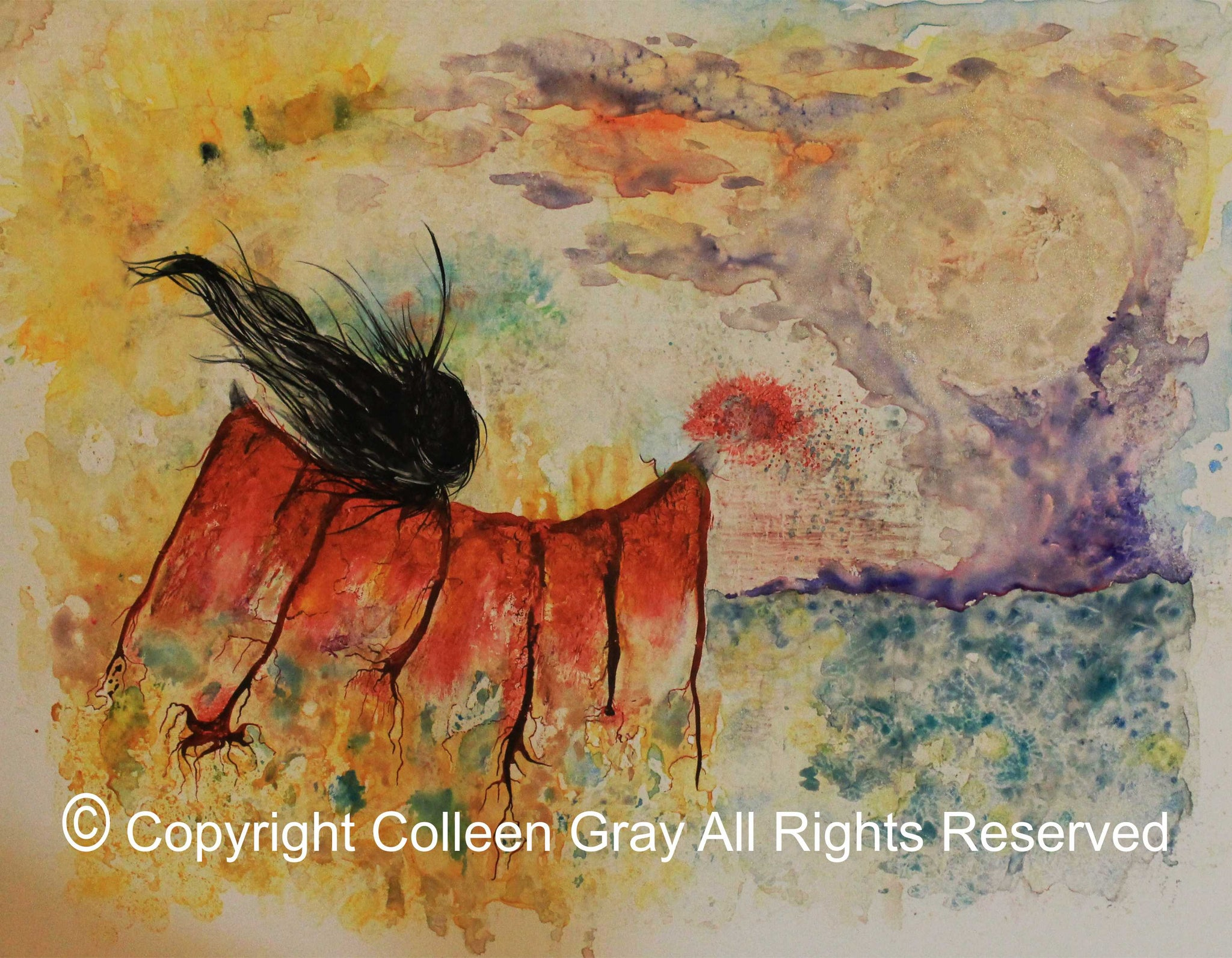 Art Card Title: Ask Your Grandmother  by Metis Artist Colleen Gray Indigenous Canadian Art Work.  In it a woman in bright orange clothes and long flowing hair. Very colourful. For sale on https://artforaidshop.ca