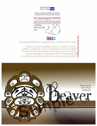 Image of Influenced Birthday Card April 20 – May 20 Beaver by Metis Artist Colleen Gray Indigenous Canadian Art Work. horizontal. For sale at https://artforaidshop.ca