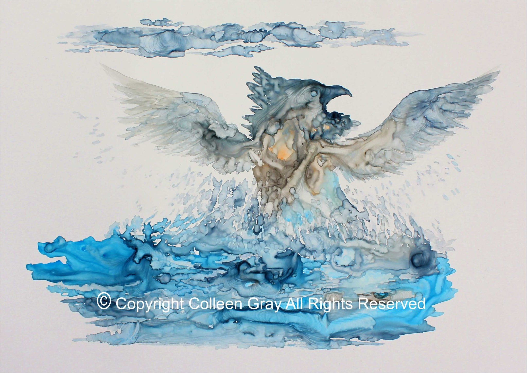 Image of Title: Blue Thunderbird Rising 16x20 archival print by Metis Artist Colleen Gray Indigenous Canadian Art Work. Image of Thunderbird powerfully rising out of the blue water, wings outstretched, pointy beak. For sale at https://artforaidshop.ca