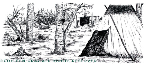 Image of Title:  Day After the Wedding Art Card Metis Artist Colleen Gray Indigenous Canadian Art Work. Black and white. Landscape scene, teepee, trees. For sale at https://artforaidshop.ca
