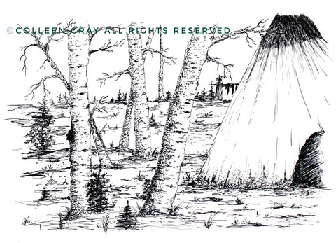 Image of Title: Home Art Card by Metis Artist Colleen Gray Indigenous Canadian Art Work. Trees, teepee, landscape horizontal. Black & White. For sale at https://artforaidshop.ca