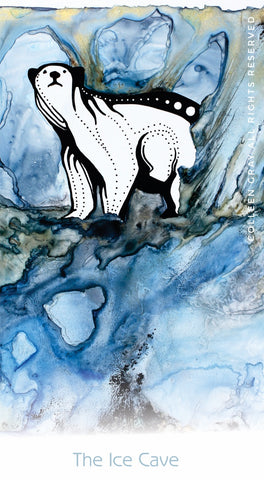 Image of Title: The Ice Cave Bookmark by Metis Artist Colleen Gray Indigenous Canadian Art Work. Polar bear. For sale at https://artforaidshop.ca