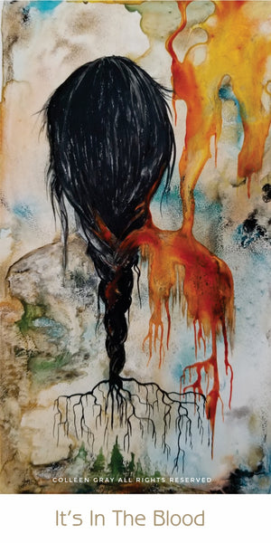 Image of Title: It's in the Blood Bookmark by Metis Artist Colleen Gray Indigenous Canadian Art Work.   Woman, long hair. For sale at https://artforaidshop.ca