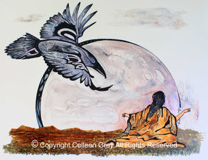 Image of Title: Lunar Messenger Art Card by Metis Artist Colleen Gray Indigenous Canadian Art Work. Raven and full moon, woman with arms outstretched Horizontal. For sale at https://artforaidshop.ca