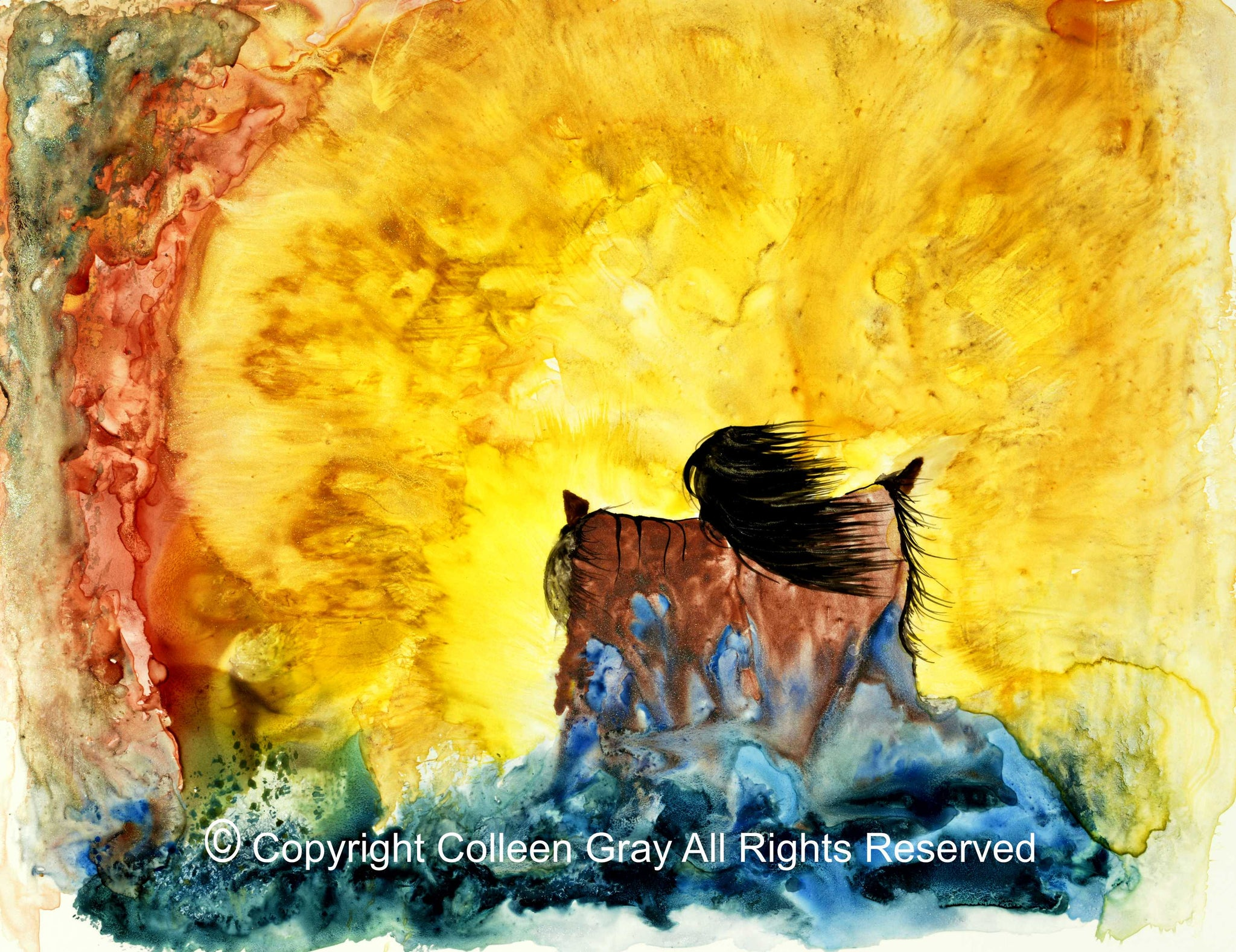 Image of Title: Making the Water Art Card by Metis Artist Colleen Gray Indigenous Canadian Art Work. Woman with arms outstretched, bright powerful fire. Horizontal. For sale at https://artforaidshop.ca