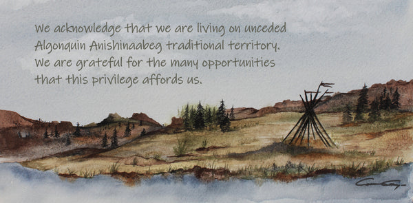 There is a bare tipi with just the poles has ribbons blowing in the wind at the top of the poles. The landscape is treed and the grassy with the tipi sitting on the shore of a lake. The words are written in the area where the clouds become the background with the rolling and hilly landscape beneath. It is rectangular in shape.