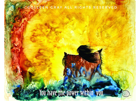 Image of Laminated Poster Power by Metis Artist Colleen Gray Indigenous Canadian Art Work. Powerful image of Fire storm and woman with arms outstretched. For sale at https://artforaidshop.ca