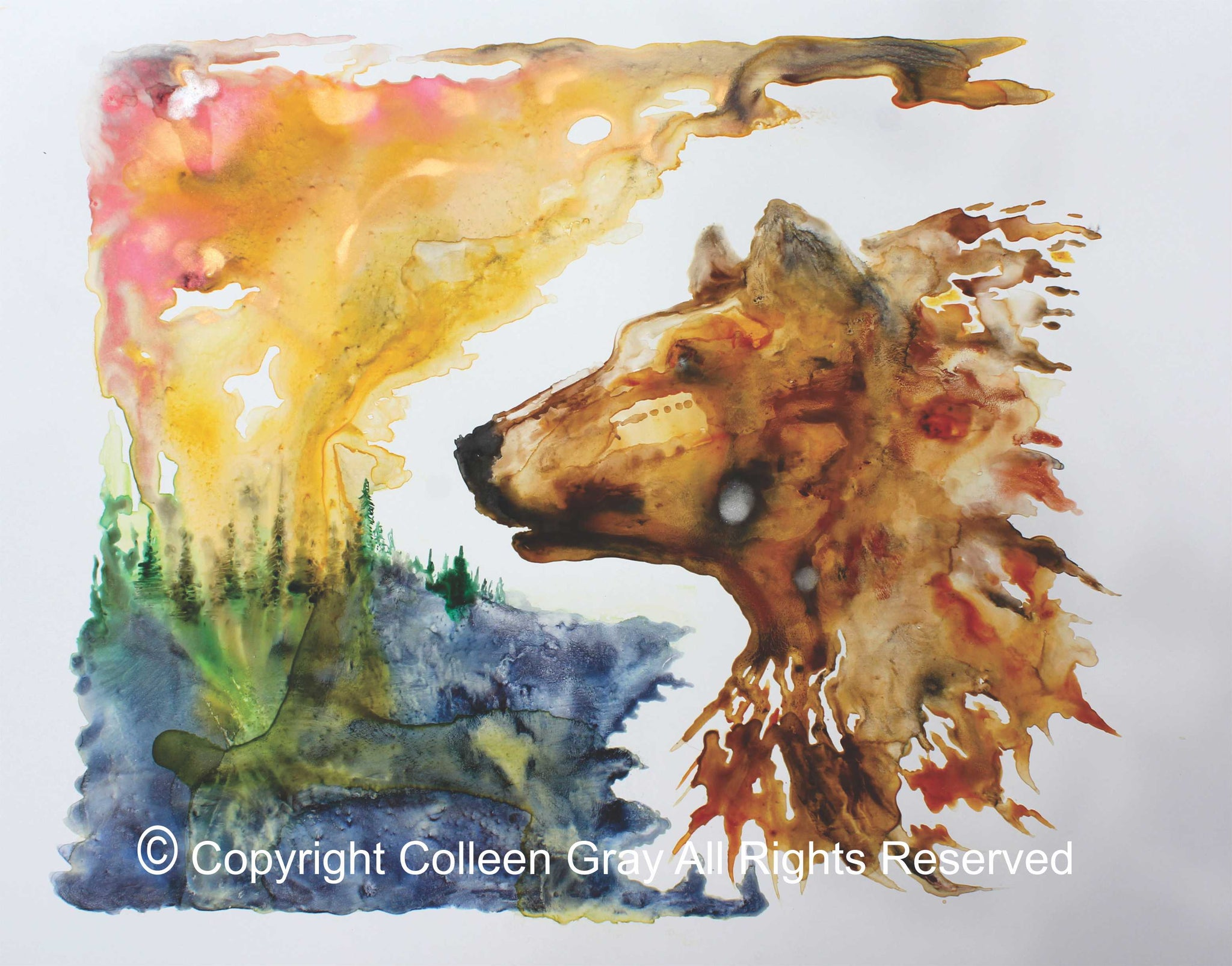 Image of Title: Red Bear In The Sun Art Card by Metis Artist Colleen Gray Indigenous Canadian Art Work. Horizontal. Colourful landscape and bear/wolf. For sale at https://artforaidshop.ca