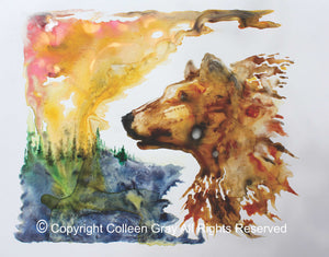 Image of Title: Red Bear In The Sun 16x20 archival print by Metis Artist Colleen Gray Indigenous Canadian Art Work. Horizontal. Colourful landscape and bear/wolf. For sale at https://artforaidshop.ca