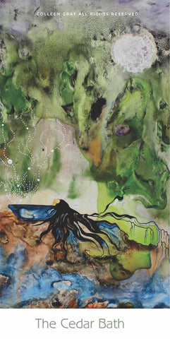 Image of Title: The Cedar Bath Bookmark by Metis Artist Colleen Gray Indigenous Canadian Art Work. Vertical. For sale at https://artforaidshop.ca