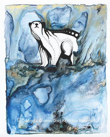 mage of Title: The Ice Cave 16x20 archival print by Metis Artist Colleen Gray Indigenous Canadian Art Work. Vertical. Polar bear. For sale at https://artforaidshop.ca