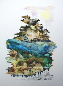 Image of Title: The Standing Ones Art Card by Metis Artist Colleen Gray Indigenous Canadian Art Work. Vertical. Trees. Can be viewed upside down. For sale at https://artforaidshop.ca