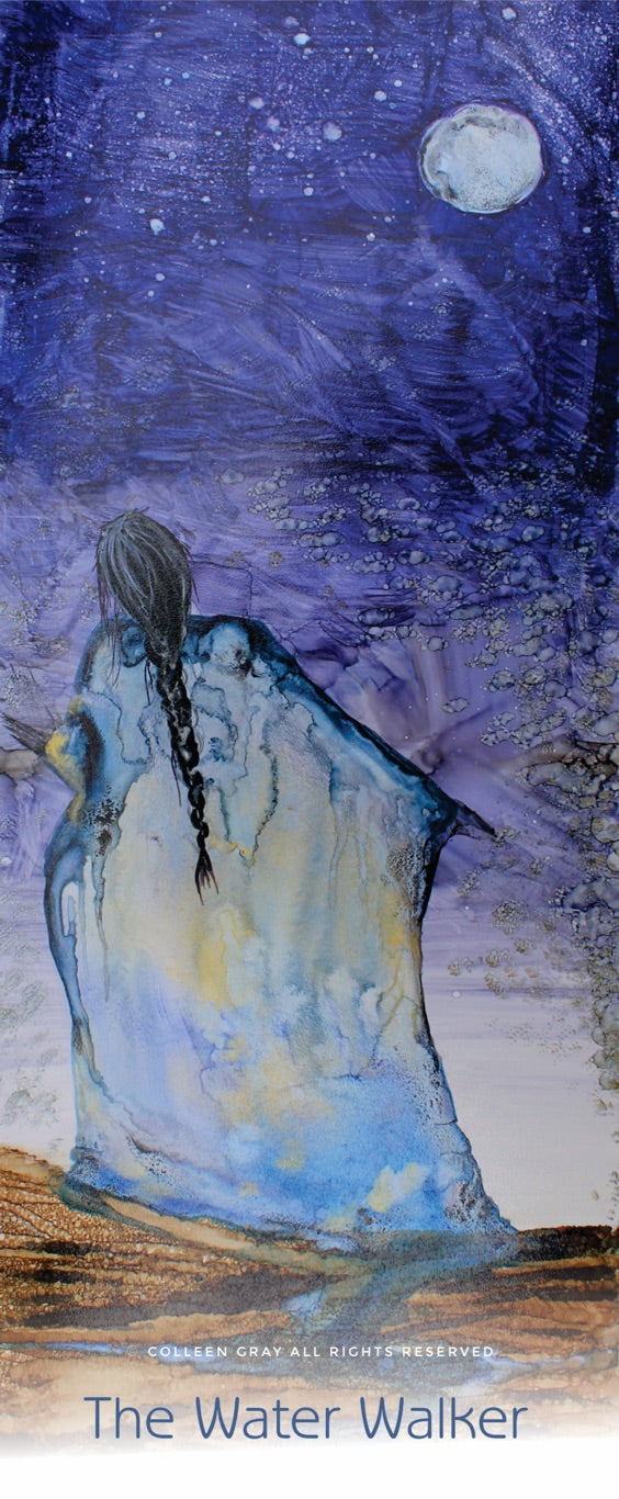 Image of Title: The Water Walker Bookmark by Metis Artist Colleen Gray Indigenous Canadian Art Work. Woman with long hair. Moon in blue night sky. For sale at https://artforaidshop.ca