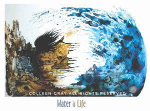 Image of Laminated Poster Water is Life by Metis Artist Colleen Gray Indigenous Canadian Art Work. Woman and ocean wave. For sale at https://artforaidshop.ca