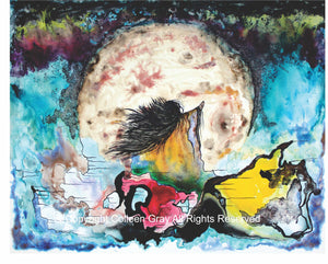 Image of Title: Wizemoon Art Card by Metis Artist Colleen Gray Indigenous Canadian Art Work. Woman with long flowing hair, outstretched arms, looking at the giant moon seeking wisdom and guidance. For sale at https://artforaidshop.ca